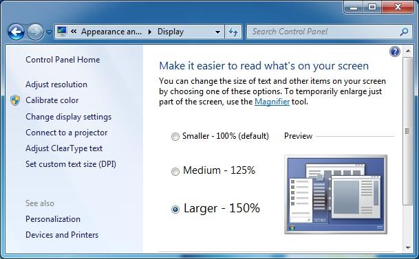 DPI Control Panel Applet