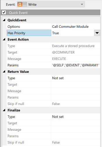 "QuickEvent definition showing the ""Has Priority"" flag set"