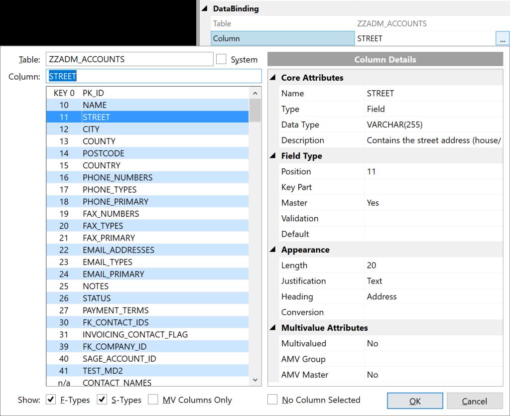 Updated Form Designer Databinding dialog