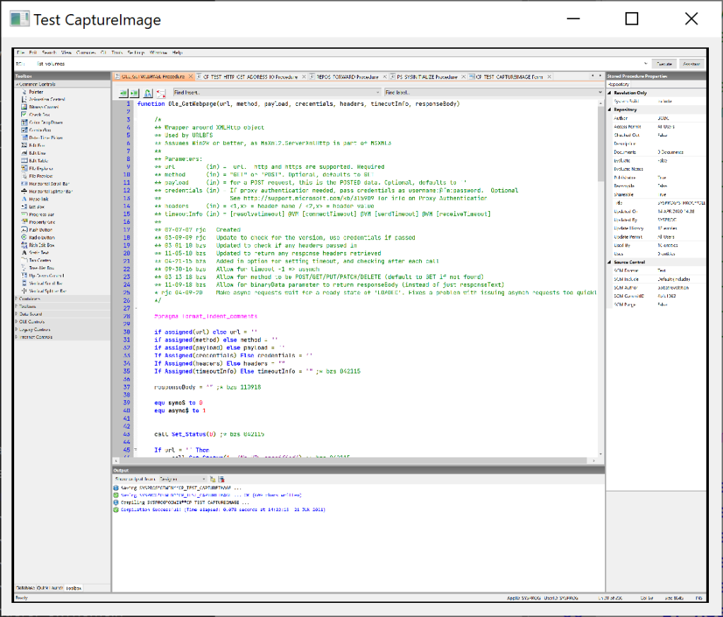 Shows a captured image of the OpenInsight IDE in a Bitmap control.