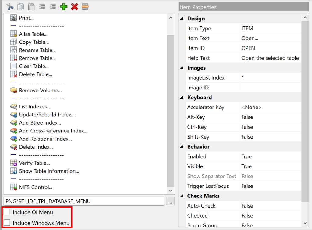 """Shows the Content Menu designer with the  """"Include OI Menu"""" and """"Include Windows Menu"""" check-boxes highlighted."""