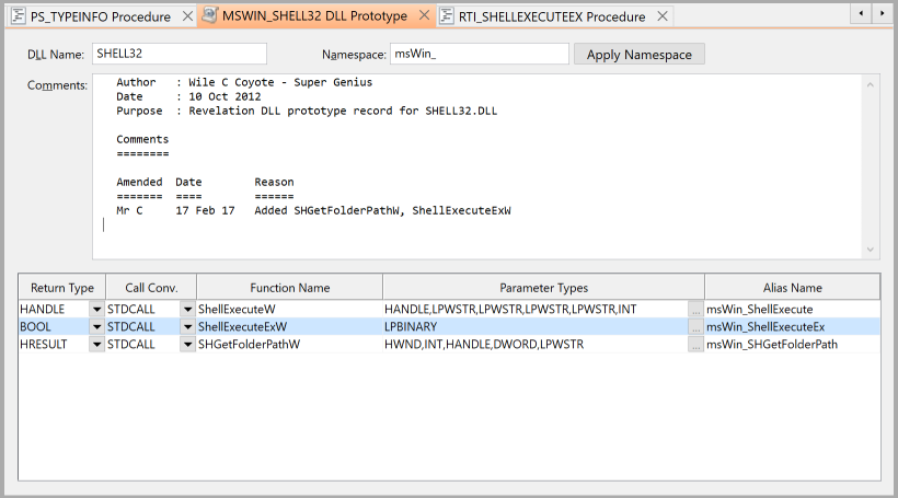 Shows the MSWIN_SHELL32 DLLPROTOTYPE entity